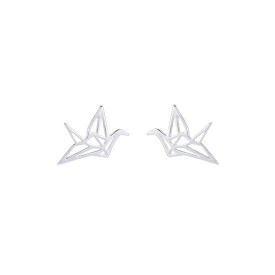 24/7 Jewelry Collection Origami Kraan Vogel Oorbellen - Kraanvogel - Zilverkleurig