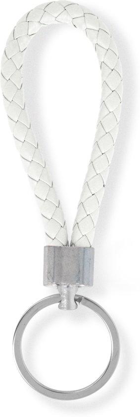 Sleutelhanger | Handgemaakte Witte Gevlochten Geweven Sleutelhanger| Mode| Auto Sleutelhanger Wit | Huissleutel | Metalen Sleutelhangers| Sleutelhanger Mannen of Vrouwen | Fietssleutel | Goedkope Sleutelhanger