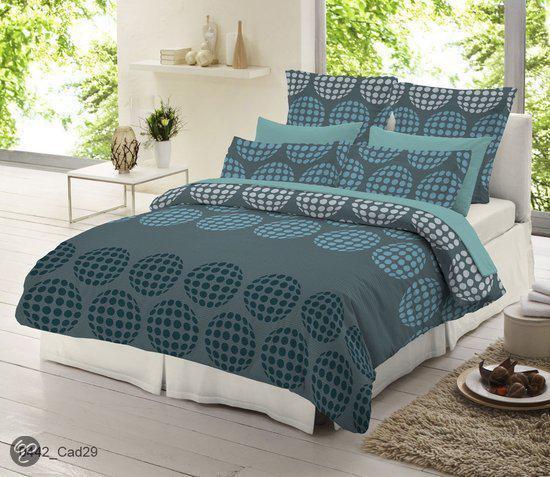 flanel dekbedovertrek 240 x 220 cm blue circle. Black Bedroom Furniture Sets. Home Design Ideas