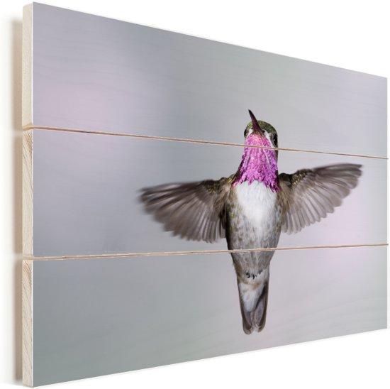 Een calliope kolibrie op een witte achtergrond Vurenhout met planken 90x60 cm - Foto print op Hout (Wanddecoratie)