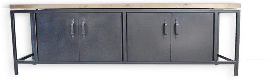 Dressoir Kast Tv Meubel Seatle Robuust En Industrieel Van Hout En Metaal 200x40x65 Cm