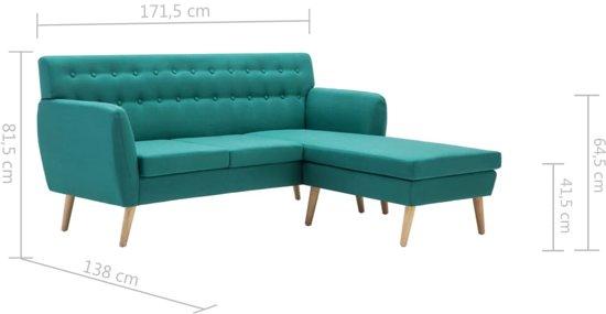 vidaXL Bank L-vormig 171,5x138x81,5 cm stof groen