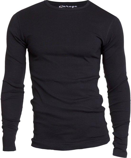 Garage 303 - T-shirt R-neck l/sl semi bodyfit black XXL 100% cotton 1x1 rib