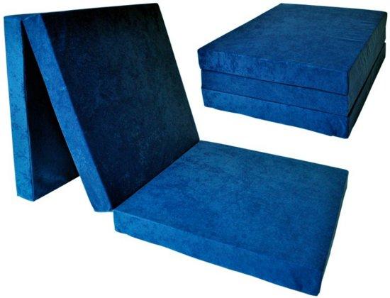 Kinder logeermatras - donker blauw - camping matras - reismatras - opvouwbaar matras - 120 x 60 x 6