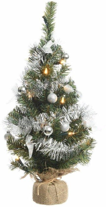 bol.com | Kerstboompje groen/zilver 60 cm met verlichting