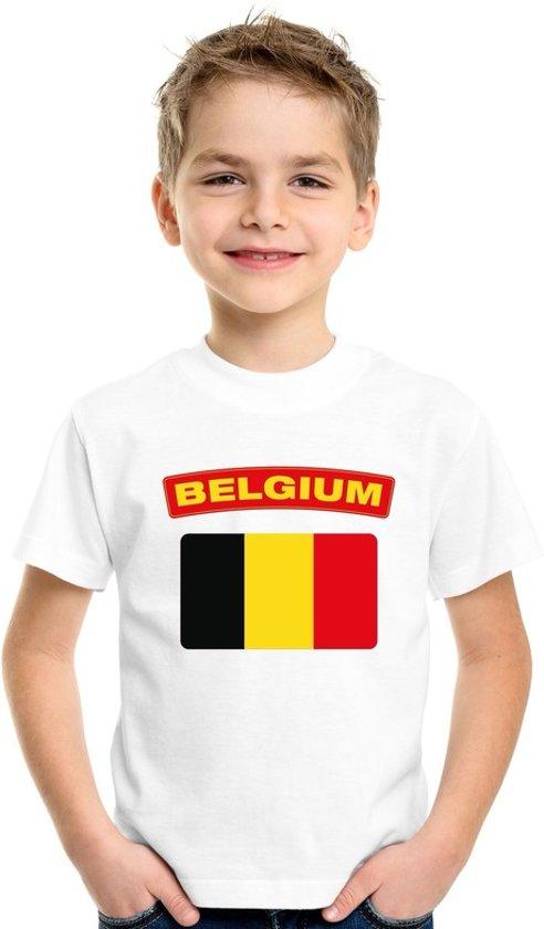 Belgie t-shirt met Belgische vlag wit kinderen XS (110-116)