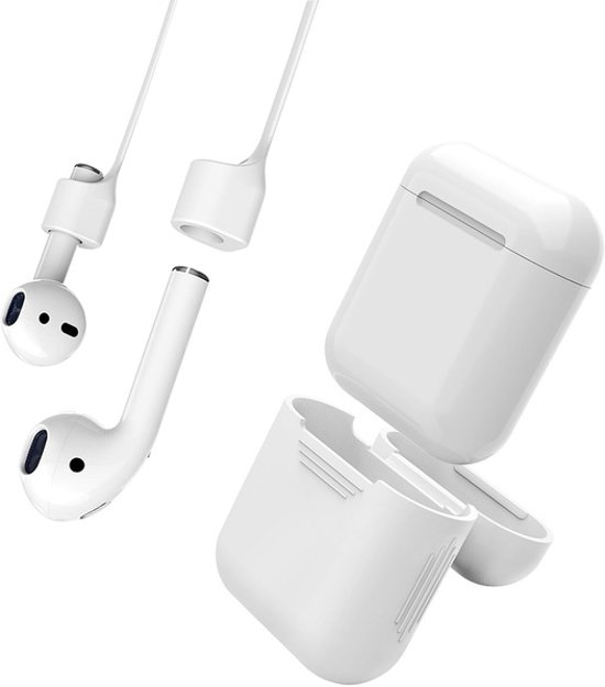 Anti Lost Strap & Case Hoes Voor Apple Airpods - Siliconen Wireless Band & Beschermhoes Cover - Wit