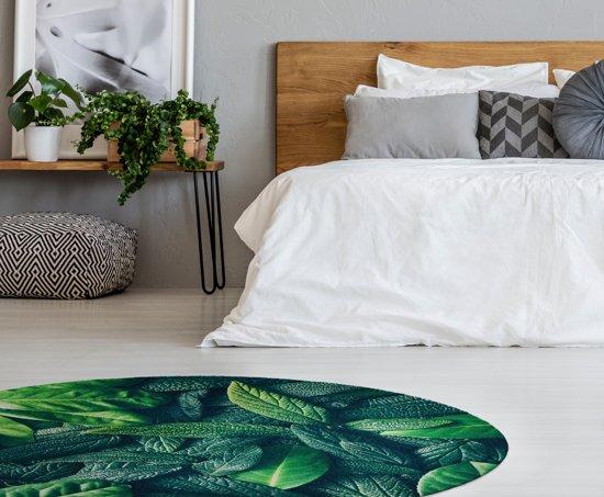 Rond Vloerkleed Kinderkamer : Bol rond vloerkleed tapijt mat groen botanisch wasbaar