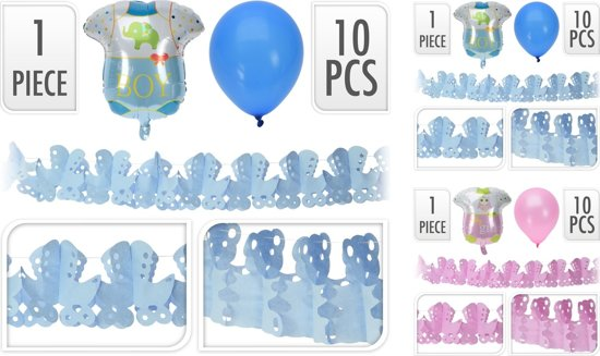 Geboorteset slinger roze 10 stuks