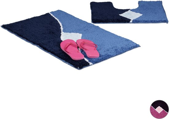 relaxdays Badkamermatten set, 2-delig, Badmat   WC-mat, 80 x 50 cm
