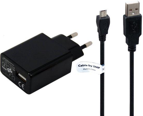 TUV getest 2A. oplader met USB kabel laadsnoer  2Mtr. Odys Maven 10 Pro - Odys Windesk 9 Plus -  USB adapter stekker met oplaadkabel. Thuislader met laadkabel oplaadsnoer in Meer