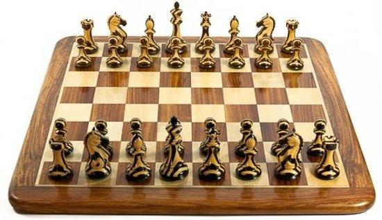 Afbeelding van het spel Gestreepte Santiago Schaakset, bord met stukken