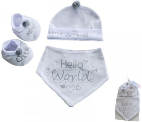 Soft Touch-baby-set-jongens-meisjes-uniseks-slofjes-bandana-mutsje-kleur: wit, grijs-0-3 maanden
