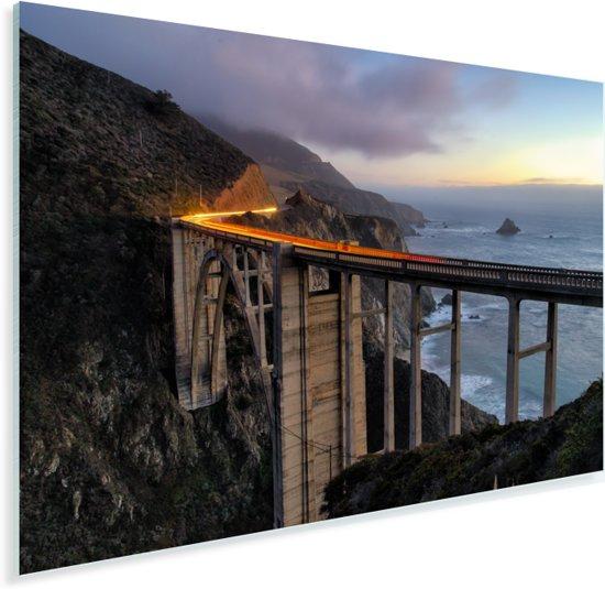 Bixby Creek Bridge bij schemering bij de Big Sur Amerika Plexiglas 120x80 cm - Foto print op Glas (Plexiglas wanddecoratie)