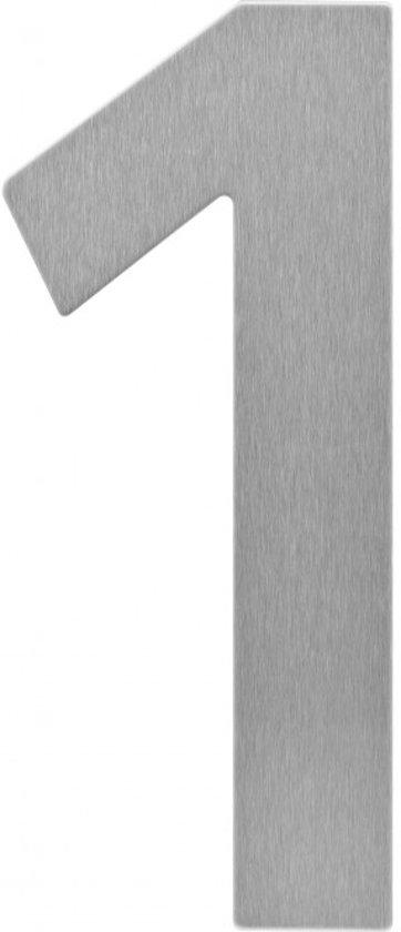 Topkwaliteit Grote RVS huisnummers 20cm nummer 1 | 3 jaar garantie