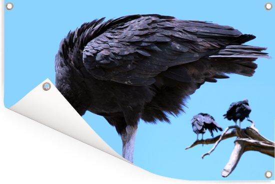 Een gier in de blauwe lucht Tuinposter 90x60 cm - Tuindoek / Buitencanvas / Schilderijen voor buiten (tuin decoratie)