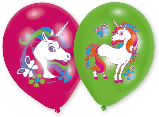 Amscan Eenhoorn verjaardag ballon Ø 27 cm - roze & groen - Set-6 Valentinaa