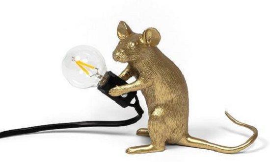 Seletti Mouse tafellamp zittend goud