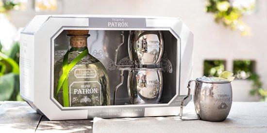 Patron Silver Tequila + 2 Silvermugs
