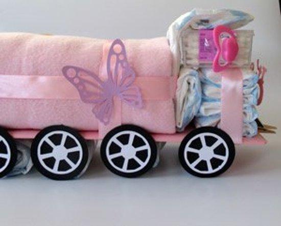 vrachtwagen luiertaart roze