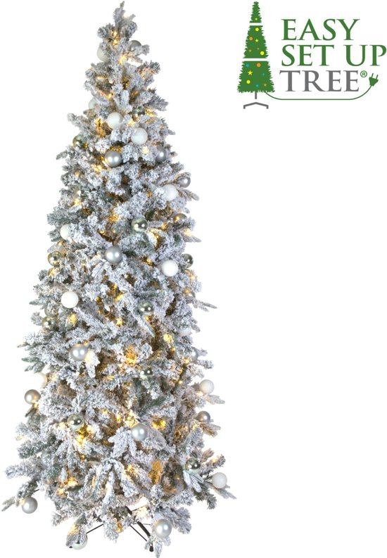Kerstboom met versiering Easy Set Up Tree® LED Avik Decorated Frosted Shiny Mint 180 cm - Luxe uitvoering - 240 Lampjes Valentinaa