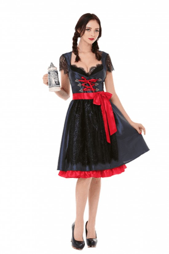 5fa3e69b8a2817 Tiroler jurkje zwart rood