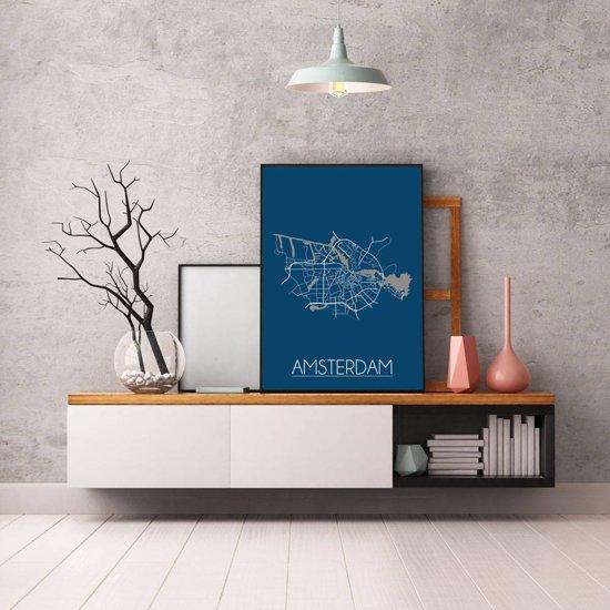 Plattegrond Amsterdam Stadskaart poster DesignClaud - Blauw - A4 poster