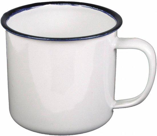MFH Emaille beker wit-zwart 300 ml diameter 8 cm