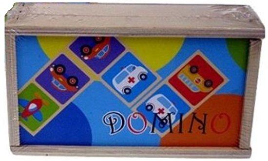 Afbeelding van het spel Houten domino Verkeer in kistje (blauw)