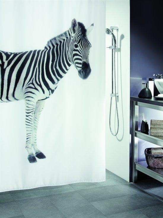 Spirella Zebra - Douchegordijn - Zwart - Polyester - 200 x 180 cm