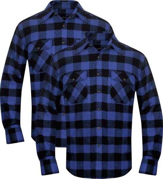 Geblokt Overhemd.Bol Com Vidaxl Overhemd Blauw Zwart Geblokt Flanel Maat Xl 2 St
