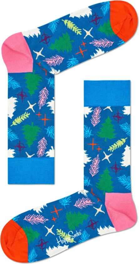 Happy Socks - Happy Holiday - kerst sokken - Christmas Tree - Blauw Multi - Unisex - Maat 41-46
