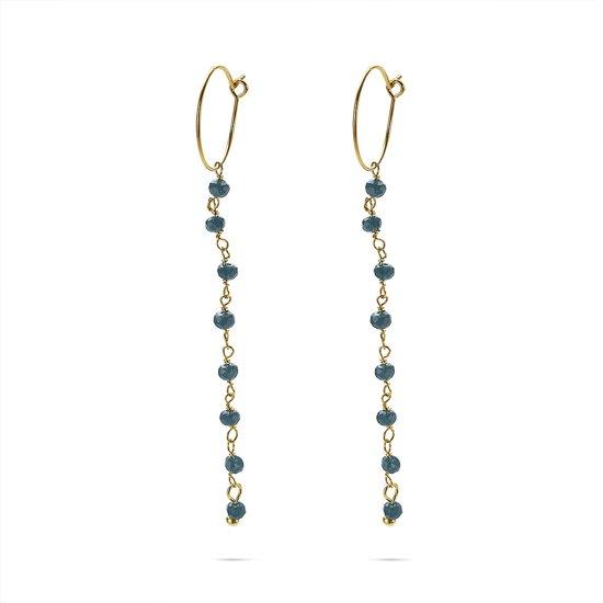Twice As Nice Oorbellen in goudkleurig edelstaal, oorring met blauwe steentjes Nvt