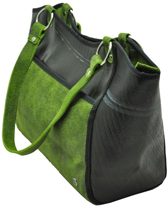 f21502dd0a9 bol.com | Made in Barrio Merenque's shopper - Werktas - Leer - Groen