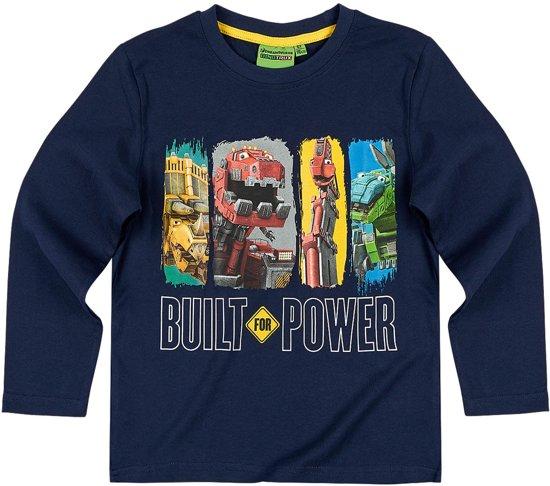 Dinotrux-T-shirt-met-lange-mouw-marineblauw - Maat 104