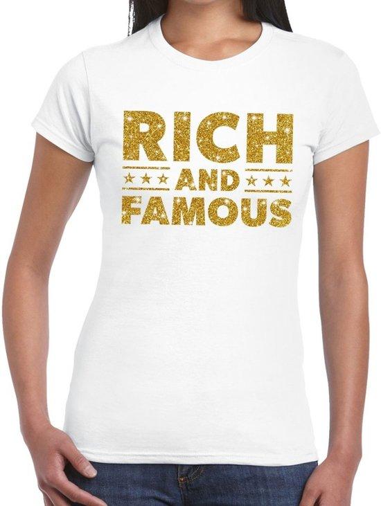 Rich and Famous goud glitter tekst t-shirt wit voor dames L