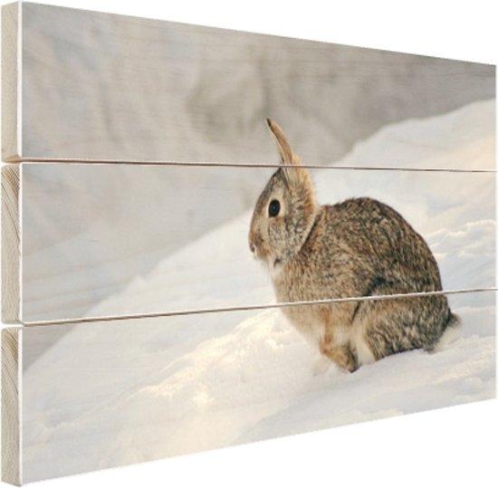Wild konijn in de sneeuw Hout 160x120 cm - Foto print op Hout (Wanddecoratie) XXL / Groot formaat!