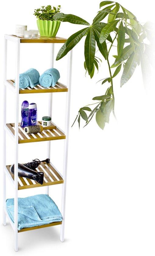 Relaxdays Badkamerkast Bamboe Boekenkast Badkamer Rek Stellingkast Kast