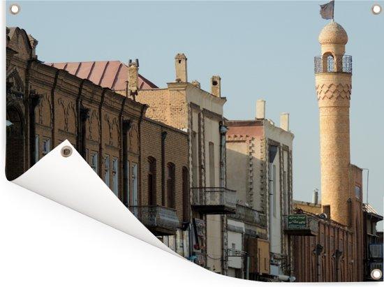 Traditionele gevels en moskee minaret in Tabriz Iran Tuinposter 40x30 cm - klein - Tuindoek / Buitencanvas / Schilderijen voor buiten (tuin decoratie)