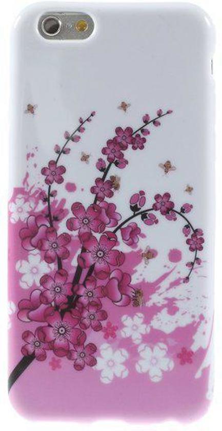 iPhone 6 silicone gel hoesje roze bloem