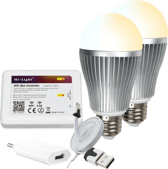 bol.com | Milight starterspakket 2: 2xE27 Dual White Wifi lamp met ...