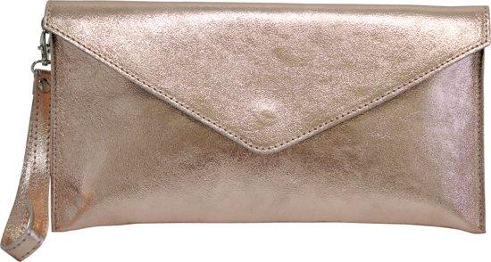 75ca2654362 bol.com | AmbraModa clutch tas dames leren handtas in metallic ...