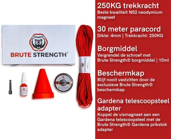 Vismagneet set met touw  - schroefdraadborgmiddel - beschermkap - 200 kg - Starterspakket - Magneetvissen - Vismagneet neodymium - Onderwater vissen - Magneet vissen touw - 30 meter - Rood