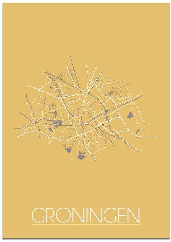 Plattegrond Groningen Stadskaart poster DesignClaud - Geel - A3 poster