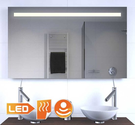 bol.com | Badkamer spiegel met verlichting, spiegel verwarming 100×60 cm