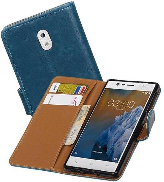 Mobieletelefoonhoesje.nl - Nokia 3 Hoesje Zakelijke Bookstyle Blauw in Xhoris