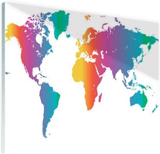 Wereldkaart felgekleurd Glas 90x60