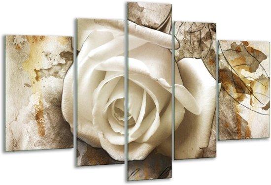 Glasschilderij Roos   Wit, Bruin   170x100cm 5Luik   Foto print op Glas    F003692