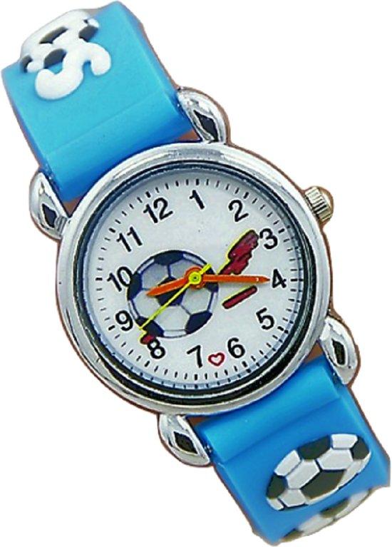 Kinder horloge- Voetbal- Blauw- Gratis batterij