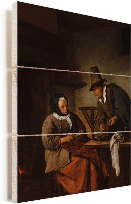 De kandeelmakers - Schilderij van Jan Steen Vurenhout met planken 60x80 cm - Foto print op Hout (Wanddecoratie)